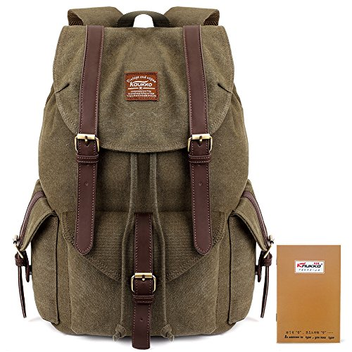 Kaukko Multipurpose Vintage Canvas Backpack Stylish Rucksack Casual Bookbags For Travel Hiking