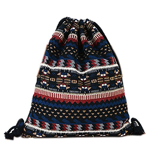 Farway Bohemia Canvas Drawstring Bag Ethnic Knit Backpack Shopping