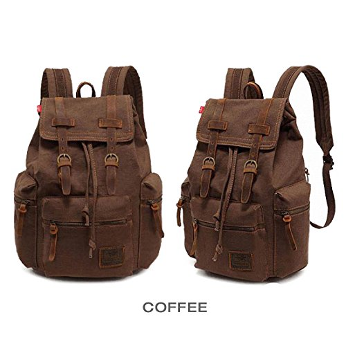 7407856a0c Cai-Retro Canvas Laptop Backpack Unisex Vintage Cool Rucksuck school  college shoulder bag Fashion Travel casual duffelbag 10 Colors Cr13 (Coffee)