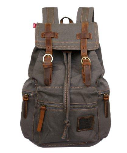e4bcb1ef99 Men s Women Vintage Canvas Backpack Rucksack School Bag Satchel Hiking Bag  1039 Army Green
