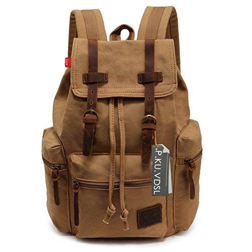 VDSL-AUGUR SERIES Vintage Canvas Leather Backpack 4234a5f2d560d