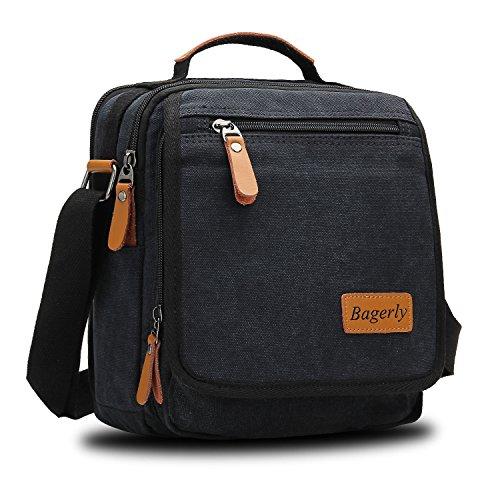 ffba36af9f Bagerly Small Canvas Vintage Shoulder Bag Multi-Pockets Crossbody Business Messenger  Bags