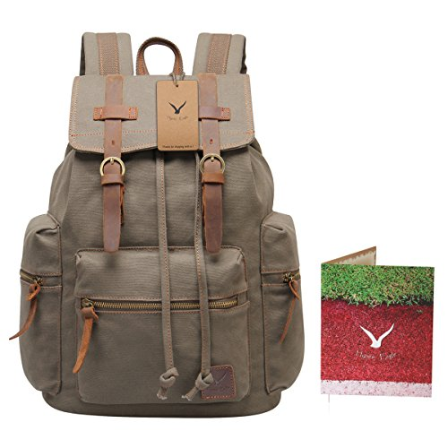 1e73dd9ed0 Hynes Eagle Vintage Canvas Leather Backpack Rucksack (Army Green ...