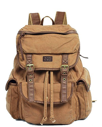 fe63a393fe625 Vintage Canvas Leather Travel Rucksack Military Backpack – Serbags ...