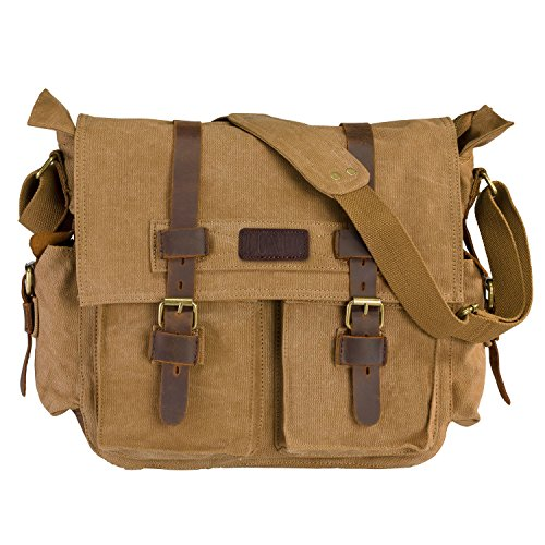 ecddbbac9ff LUXUR Casual Vintage Canvas Messenger Bag Tactical Military Satchel Shoulder  Bag for 15 Inch Laptop for Men and Women Coffee Large