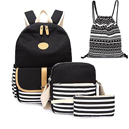 241587132612 4pcs Canvas Backpack Cute Lightweight Teen Girls Backpacks School Shoulder Bags  Backpack Set Alando(Stripe Black)