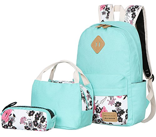 c52b464dc7db BLUBOON Teens Backpack Set Canvas Girls School Bags