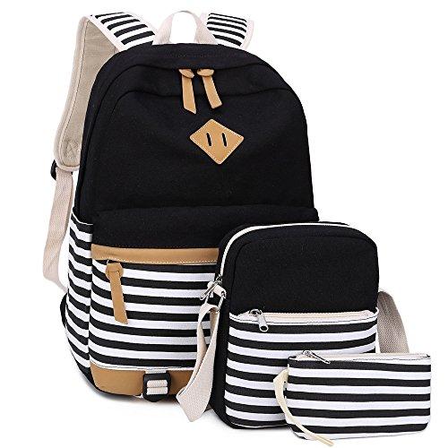 0f40d46786cd BLUBOON Bookbags Canvas Stripe School Backpack Set for Teens