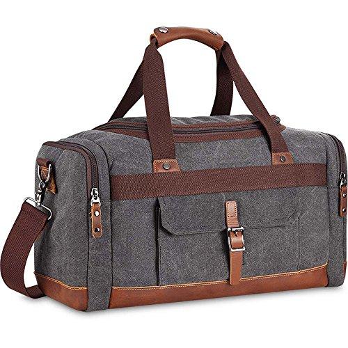 BLUBOON Overnight Bag Canvas Genuine Leather 21.2″ 9.45″ 12.6″ Vintage  Travel Duffel Bags (Big Size Grey) 45d095db23b4f