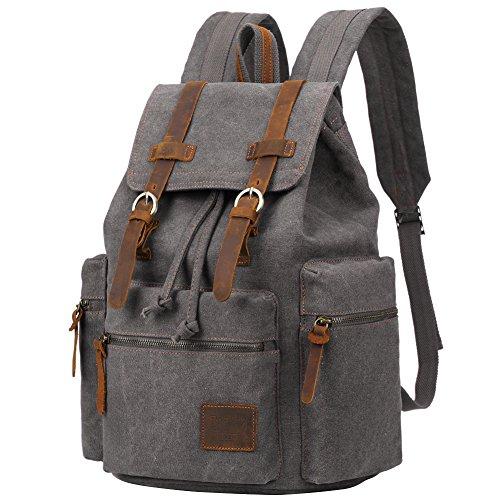 6c72d6ca06 Berchirly Vintage Men Casual Canvas Leather Backpack Rucksack Bookbag  Satchel Hiking Bag