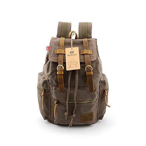 fed8ebba667a SUPON Vintage Men Casual Canvas Leather Backpack Rucksack Bookbag Satchel  Hiking Bag (Army green)