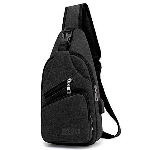 d6502da7c686 lcfun Canvas Sling Bag Shoulder Chest Cross Body Backpack With USB Charging  Port For Men Women Girls Boys Crossbody Lightweight Travel Hiking Outdoor  Sport ...