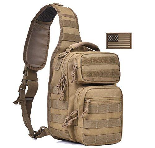 63a07bd161a2 Tactical Sling Bag Pack Military Shoulder Sling Backpack Small Range Bag  Day Pack Tan