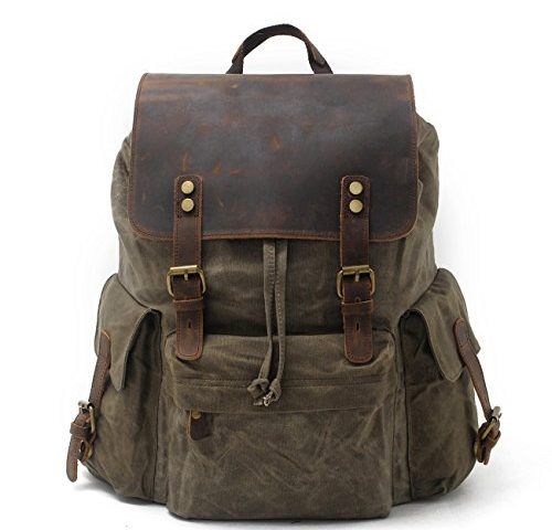 8e5b8d906 SUVOM Vintage Canvas Leather Laptop Backpack for Men School Bag 15.6″  Waterproof Travel Rucksack (Green)